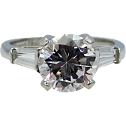 14k White Gold Triamond Lady's Size 6 3/4 Ring With White Topaz Solitaire