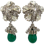"RARE Vendome ""Flawed Emerald Glass"" HUGE Runway Dangle Rhinestone Earrings"