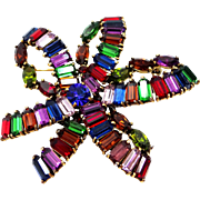 Hollycraft 1951 Jeweled Tones Large Ribbon Pin