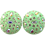 Weiss Mint Green and A/B Rhinestones Clip on Earrings