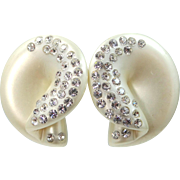 Large Cream Colored Lucite Rhinestone Clip on Earrings