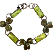 Sterling Silver and Connemara Marble Shamrock Bracelet Circa Early 1900's