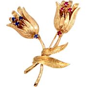 14k Solid Gold Sapphires and Rubies Floral Pin 11.7 Grams!