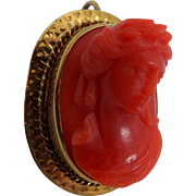 Victorian 14k Gold and Deep Orange Coral High Profile Pin / Pendant
