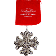 1974 Christmas Cross Pendant Reed and Barton Sterling Silver