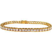 Beautiful Sterling Vermeil Princess Cut CZ Tennis Bracelet