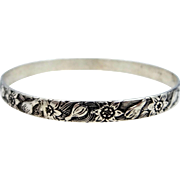 Early Danecraft Felch Co. Hallmarked Sterling Silver Crocus Bangle Bracelet