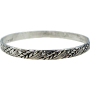 Early Danecraft Felch Co. Hallmarked Sterling Silver Wheat Pattern Bangle Bracelet