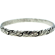 Early Danecraft Felch Co. Hallmarked Sterling Silver Oak Leaf Bangle Bracelet