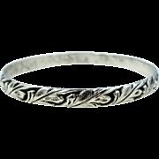 Early Danecraft Felch Co. Hallmarked Sterling Silver Oak Leaf Bangle Bracelet