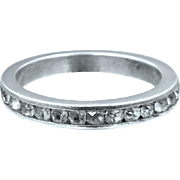 Art Deco Sterling Silver and Crystals Eternity Band Stacking Ring