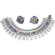 Lisner Wide Rhinestone Bracelet and Earrings