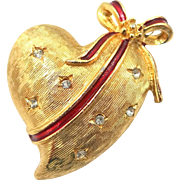 Lancer II Christmas Heart Pin with Red Enamel Ribbon