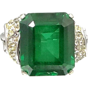 Vendome Sterling Silver Faux Emerald Cocktail Ring