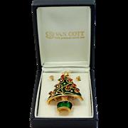 Enamel Christmas Tree Pin with Pierced Earring Ornaments