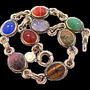 RONCI 12k Gold Filled Semi Precious Gemstones Scarab Bracelet