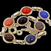 Vintage 12k Gold Filled Semi Precious Gemstones Scarab Bracelet