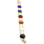 12k Gold Filled Ladder Style LARGE Scarab Semi Precious Gemstones Bracelet