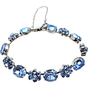 Pretty Signed CORO Ice Blue Crystals Bracelet