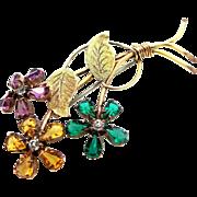 Retro SAMSAN 12k Gold Filled Open Back Crystals Floral Pin