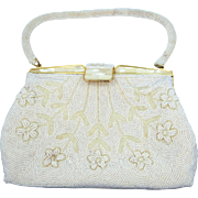 Vintage Opalescent Glass Beaded Purse Clutch Handbag