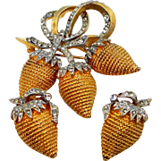 Vintage CORO Strawberries Pin and Clip on Earrings