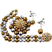 1960s Gold Tone and Silver Tone Glass Beads & Marcasites Demi Parure