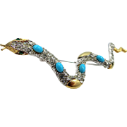 Slithering Serpent Pin with Faux Turquoise Stones