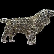 1940's Rhodium Plated Rhinestone Spaniel Dog Pin