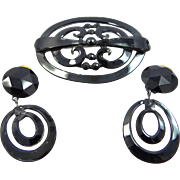 1930's Jet Glass and Metal Mourning Pin and Earrings