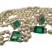 Vendome Flawed Emerald Green Glass and Faux Pearls Parure