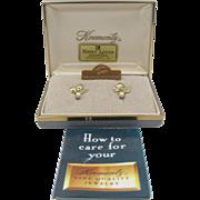 Krementz Maple Leaf Screw Back Earrings Mint in Original Box with Brochure