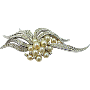 Panetta Silver Tone Metal Rhinestone Wedding Pin