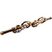 Victorian Style Genuine Pearls Bar Pin