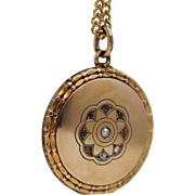 Victorian Seed Pearl and Round Crystals Locket