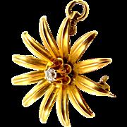 14k Gold Victorian Diamond Starburst Pin / Pendant