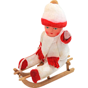 Antique Christmas Candy Container Composition Doll on Sled