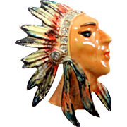Cute Indian Chief Enamel and Rhinestone Pin