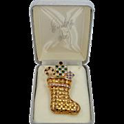 Eisenberg Ice Christmas Stocking with Rhinestones and Original Box