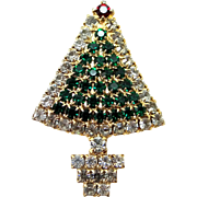 Cute Well Made Green and Clear Rhinestone Christmas Tree Pin