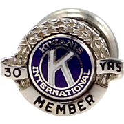 14k White Gold Kiwanis 30 Year Member Collar Pin