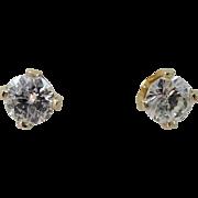 14k Gold Genuine Diamond Solitaire Stud Earrings
