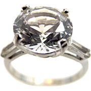 10k White Gold Large Solitaire Ring with Baguettes