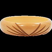 Carved Bakelite Bangle Bracelet Cream Corn Color