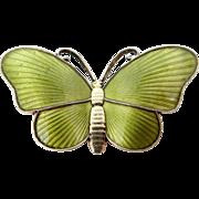 Ivar T. Holth Guilloche Enamel Sterling Silver Butterfly Pin