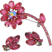 D & E Juliana Pink Flower Pin and Matching Earrings