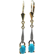 8k White and Yellow Gold Turquoise Dangle Earrings