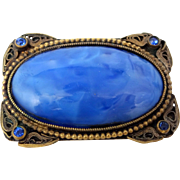 Art Deco Mottled Blue Stone Gilt Brass Pin