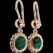 Pretty 14k Gold Malachite Dangle Earrings