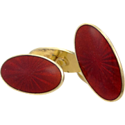 David Andersen Guilloche Red Enamel Sterling Vermeil Art Deco Cufflinks Cuff Links